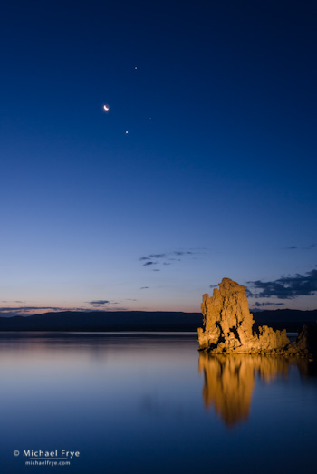 The moon, Venus, and Jupiter in the dawn sky over Mono Lake.