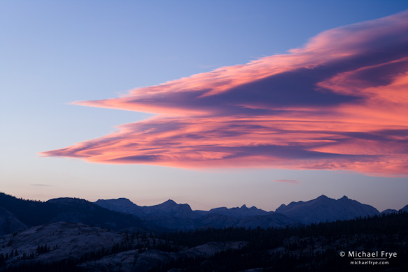 Lenticular cloud at sunset on the first evening of the workshop