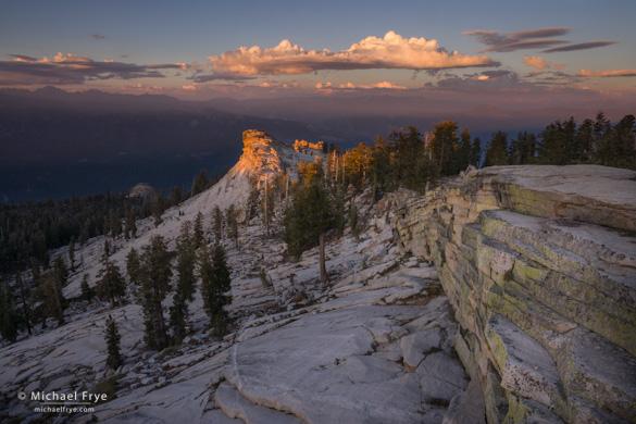 Last light on a granite ridge below Shuteye Peak