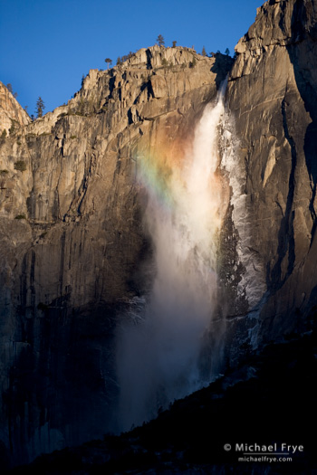 Upper Yosemite Fall and rainbow, December 2005
