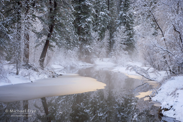 Merced River in winter, Yosemite NP, CA, USA