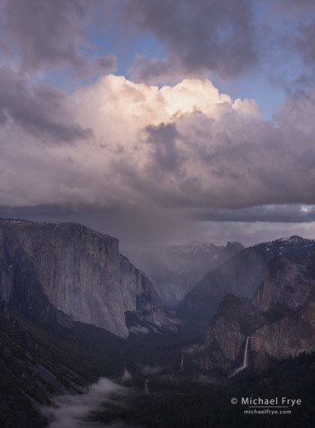 Rain squall over Yosemite Valley from near Old Inspiration Point, Yosemite NP, CA, USA