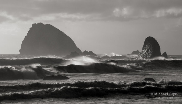 Waves and sea stacks, late afternoon, Redwood NP, CA, USA