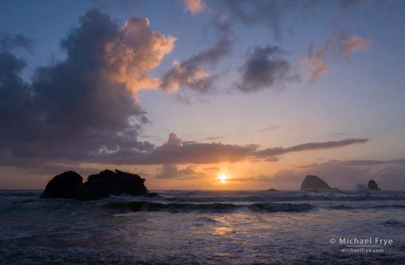 Sea stacks at sunset, Redwood NP, CA, USA