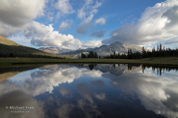 Clouds and Mammoth Peak reflected in an alpine tarn, Yosemite NP, CA, USA
