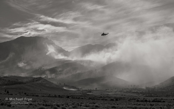 Helicopter over the Walker Fire, Inyo NF, near Lee Vining, CA, USA, 8/16/15