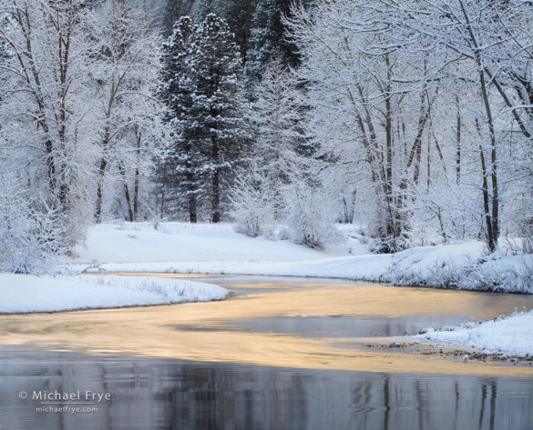 Reflections along the Merced River, winter, Yosemite NP, CA, USA