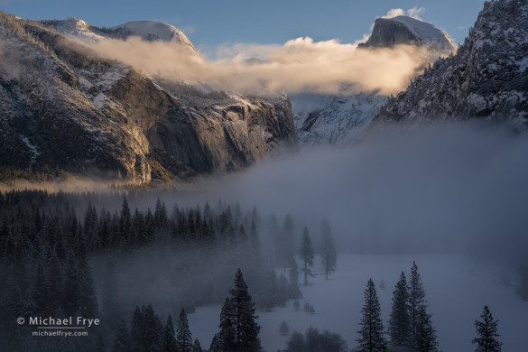 Half Dome and North Dome above Yosemite Valley, winter, Yosemite NP, CA, USA