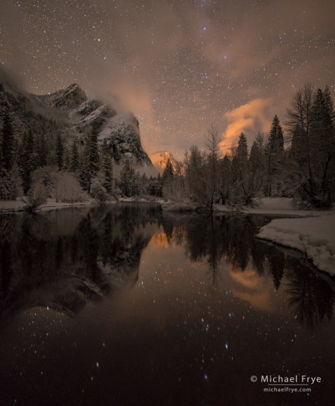 Stars, mist, Three Brothers, and the Merced River, Yosemite NP, CA, USA