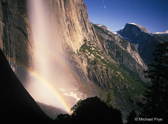 Half Dome and Upper Yosemite Fall with a lunar rainbow