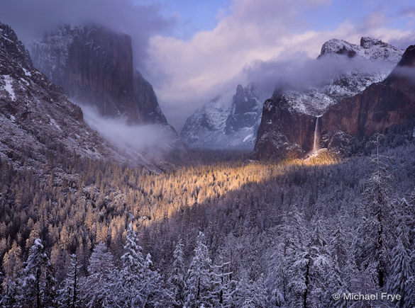 Spotlight on Bridalveil Fall, Yosemite National Park