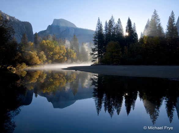Autumn Sunrise, Half Dome and the Merced River