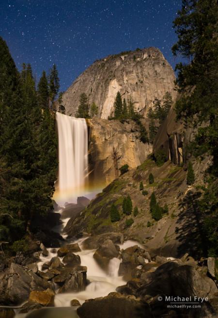 Vernal Fall and Liberty Cap at night with a lunar rainbow, Yosemite NP, CA, USA