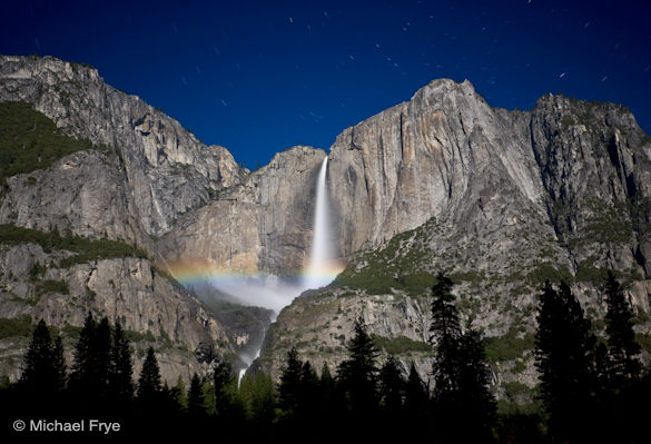 Lunar rainbow on Upper Yosemite Fall, May 8th, 2009