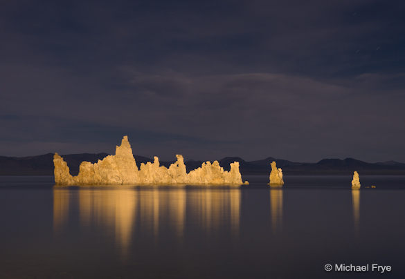 Light-painted tufa towers at Mono Lake
