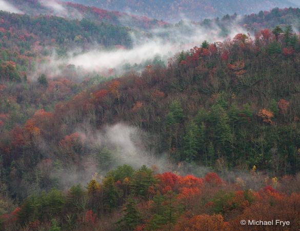 Misty hills near Whitewater Falls