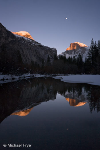 Half Dome and moon reflected in the Merced River, December 2007