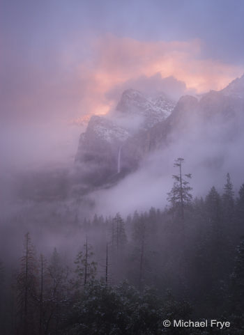 Misty sunset over Bridalveil Fall, 4:57 p.m. Saturday
