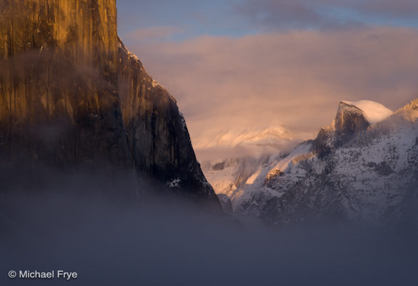 Half Dome and El Capitan at sunset from Tunnel View, Monday, 5:01 p.m.