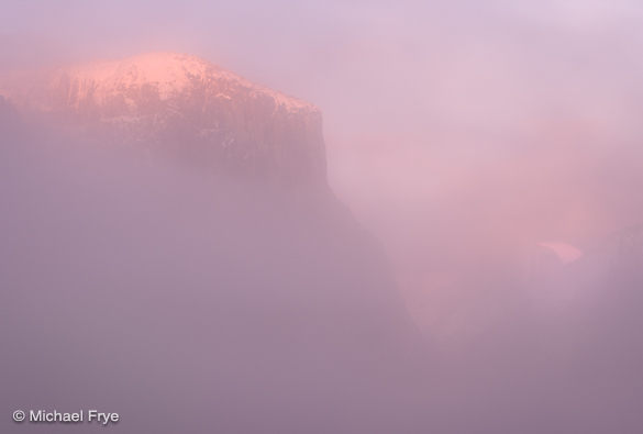 Half Dome and El Capitan through the mist at sunset, Monday, 5:11 p.m.