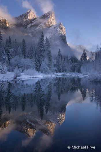 Three Brothers and the Merced River, February 15th