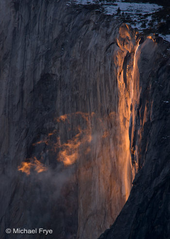 Horsetail Fall, 5:27 p.m., Wednesday, February 15th