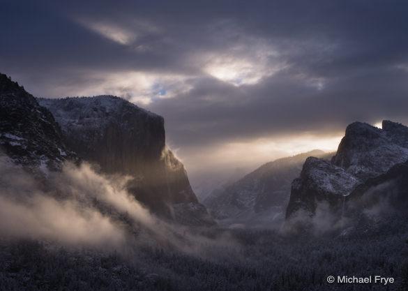 Sunbeams striking El Capitan, 6:32 a.m. Sunday