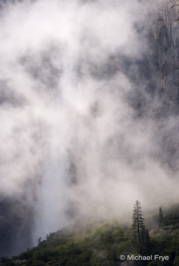 Upper Yosemite Fall through the mist, last Thursday afternoon