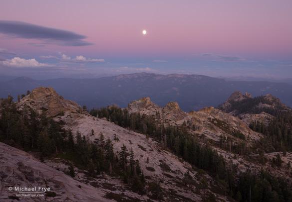 Moonrise over the Sierra Nevada and Kaiser Wilderness from Shuteye Peak