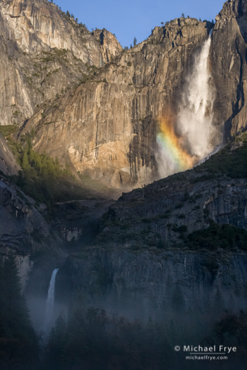 Upper and lower Yosemite Falls with a rainbow