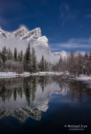 Three Brothers reflected in the Merced River on a moonlit night, Yosemite NP, CA, USA