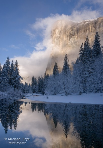Clearing storm, El Capitan and the Merced River, winter, Yosemite NP, CA, USA
