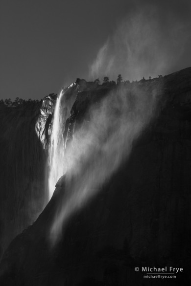 Windblown Horsetail Fall on a spring afternoon, Yosemite NP, CA, USA