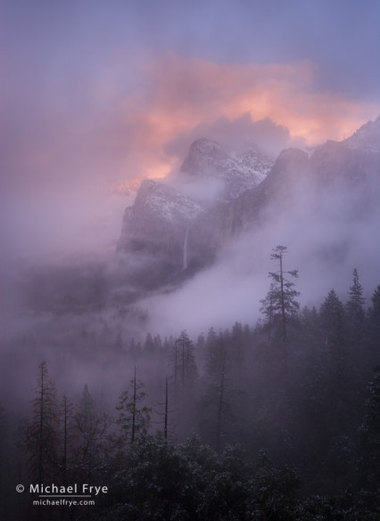 Misty sunset over Bridalveil Fall, Yosemite NP, CA, USA