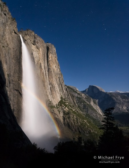 Half Dome and Upper Yosemite Fall with a lunar rainbow, Yosemite NP, CA, USA