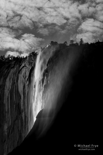 Horsetail Fall and clouds on a March afternoon, Yosemite NP, CA, USA