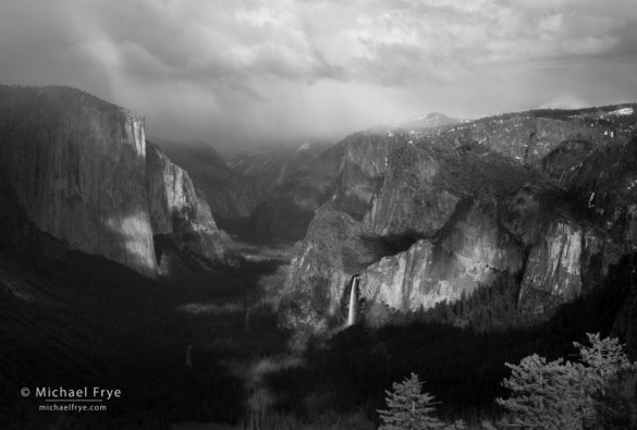 Rain showers over Yosemite Valley from near Old Inspiration Point, Yosemite NP, CA, USA