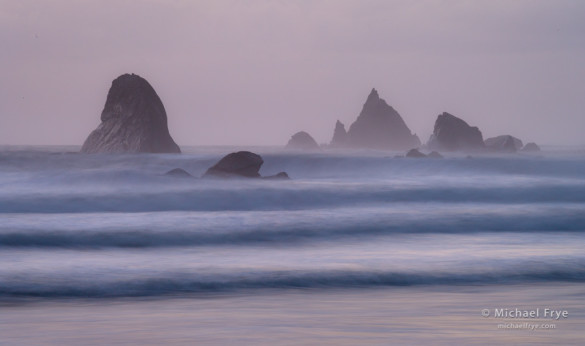 Sea stacks and waves at dusk, Redwood NP, CA, USA