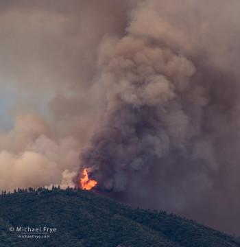 Flames on Buckingham Mountain during the Carstens Fire, Monday afternoon