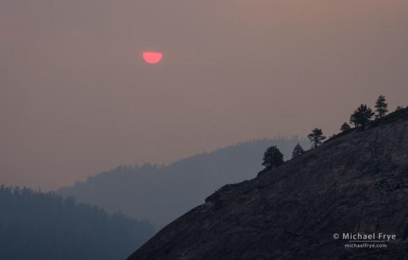 Sun setting through smoke from the Rim Fire, August 20th, 2013, Yosemite NP, CA, USA