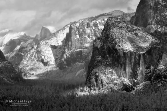 Half Dome, Sentinel Rock, and Bridalveil Fall after a snowstorm, Yosemite NP, CA, USA,