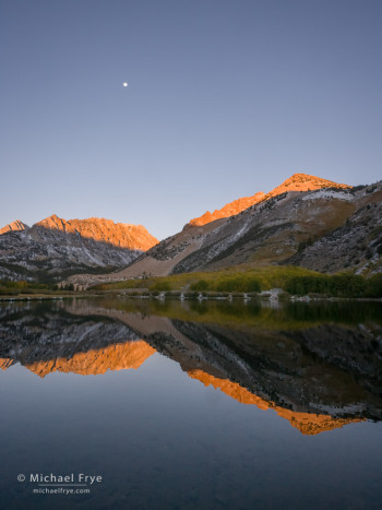 North Lake at sunrise with the setting moon, Inyo NF, CA, USA