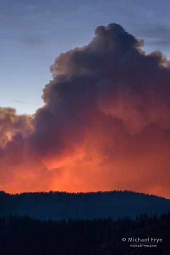 Glow from the Rim Fire, 8/24/13, Yosemite NP, CA, USA