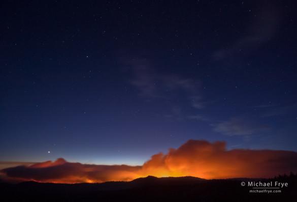 Venus and the Big Dipper over the Rim Fire, 8/24/13, 8:47 p.m., Yosemite NP, CA, USA