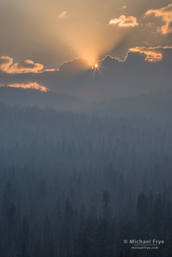 Sun on the edge of the smoke plume from the Rim Fire, 8/27/13, Yosemite NP, CA, USA