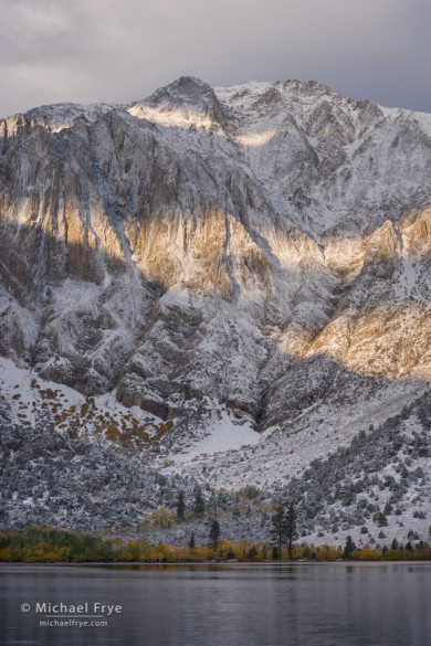 Bands of sunlight on Laurel Mountain from Convict Lake, Inyo NF, CA, USA