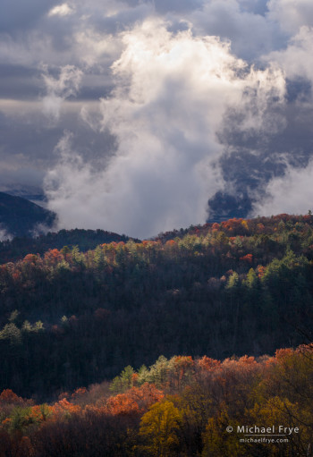 Clouds formation over the mountains along the NC/SC border, autumn, USA