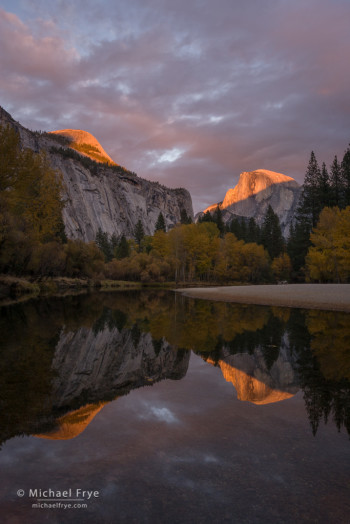 Autumn sunset, Half Dome, North Dome, and the Merced River, Yosemite NP, CA, USA