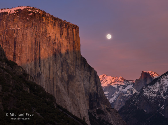 Moon rising between El Capitan and Half Dome from Tunnel View, Yosemite NP, CA, USA