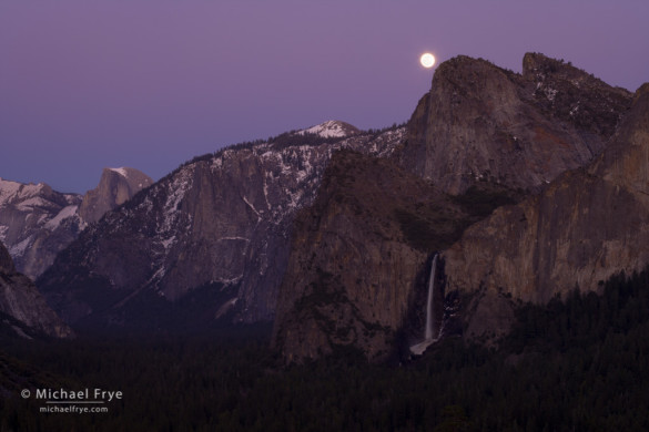 Moon rising over Cathedral Rocks from Tunnel View, Yosemite NP, CA, USA